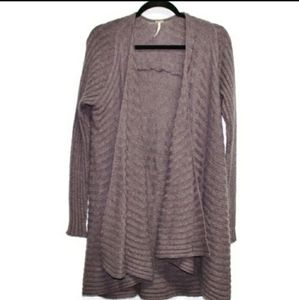 Free People purple open front draped cardigan boho